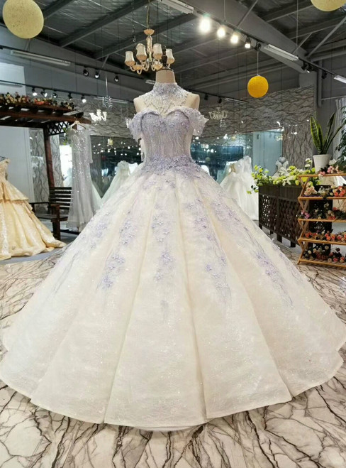 Ball Gown Sequins Blue Appliques Off The Shoulder Wedding Dress