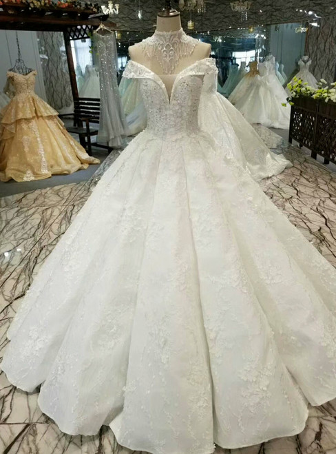 White Ball Gown Lace Appliques Off The Shoulder Floor Length Wedding Dress