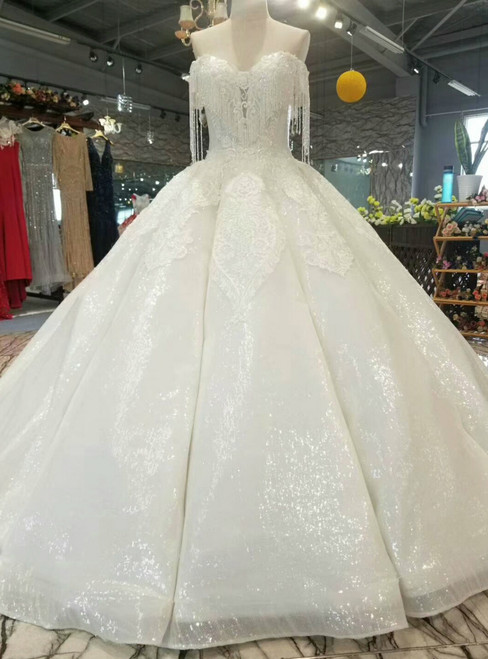 White Ball Gown Sequins Lace Appliques Off The Shoulder Wedding Dress With Beading
