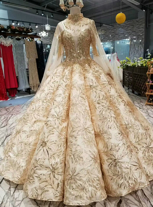 Champagne Gold Sequins Bling Bling Spaghetti Straps Long Sleeve Wedding Dress With Beading