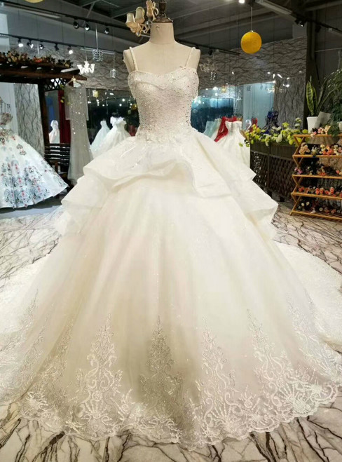 Light Champagne Ball Gown Tulle Lace Appliquies Spaghetti Straps Weddng Dress With Beading