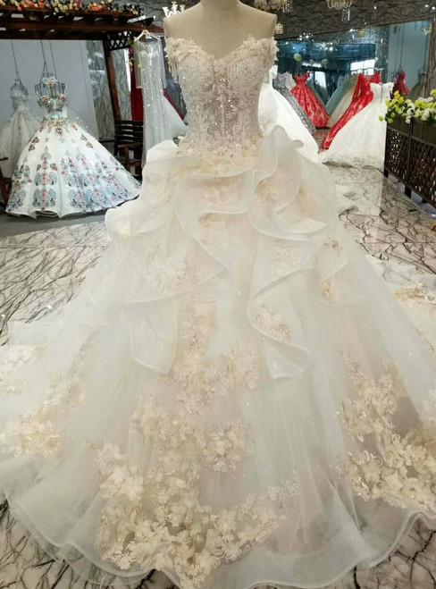 Light Champagne Tulle Appliques Off The Shoulder Wedding Dress With Beading
