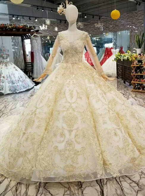 Champagne Tulle Appliques Bateau Long SLeeve Wedding Dress With Beading