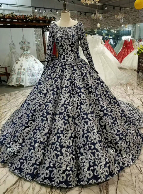 Navy Blue Ball Gown Sequins Bateau Long Sleeve Wedding Dress