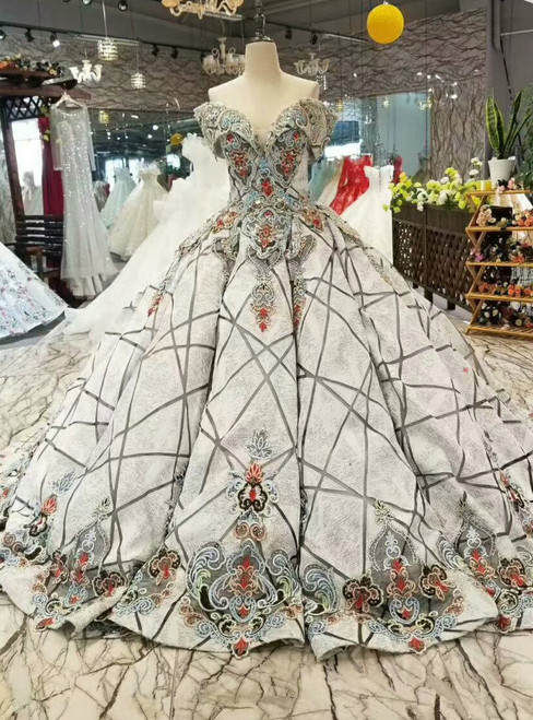 Gray Ball Gown Embroidery Beading Off The Shoulder Wedding Dress
