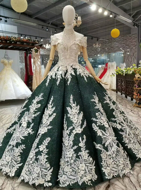 Dark Green Sequins Appliques Off The Shoulder Wedding Dress With Beading