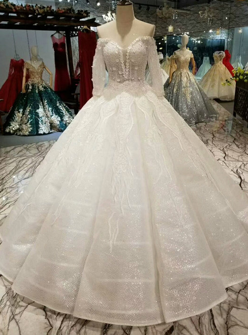 White Ball Gown Sequins Lace Appliques Off The Shoulder Long Sleeve  Wedding Dress