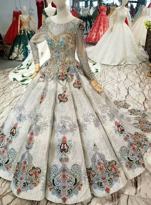 Silver Gray Sequins Long Sleeve Backless Embroidery Colorful Crystal Wedding Dress
