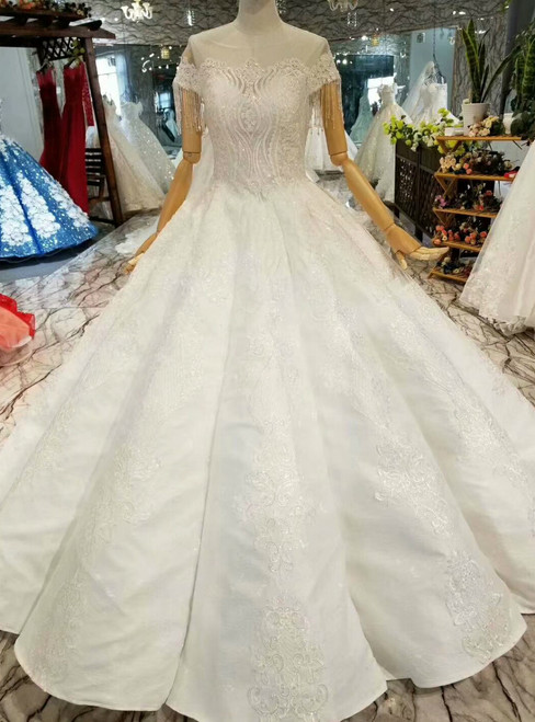 White Ball Gown Satin Backless Cap Sleeve Appliques Wedding Dress With Beading