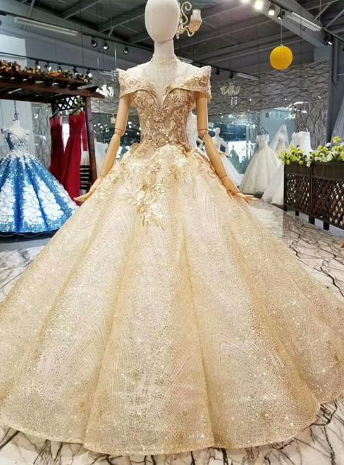 Champagne Gold Sequins Bling Bling Appliques Off The Shoulder Wedding Dress