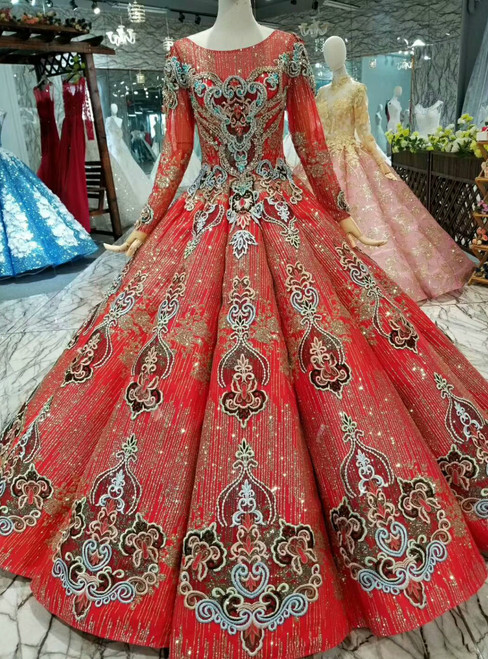 Red Ball Gown Sequins Long Sleeve Backless Embroidery Appliques Wedding Dress