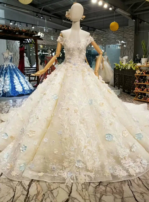 Light Champagne Ball Gown Colorful Appliques Off The Shoulder Wedding Dress