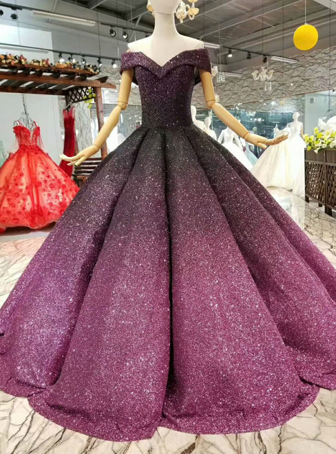 Purple Ball Gown Sequins Off The Shoulder Floor Length Wedding Dress