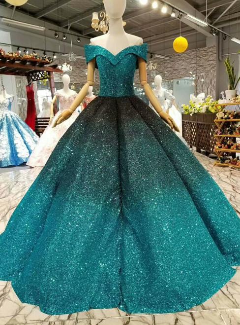 Blue Ball Gown Sequins Off The Shoulder Floor Length Wedding Dress