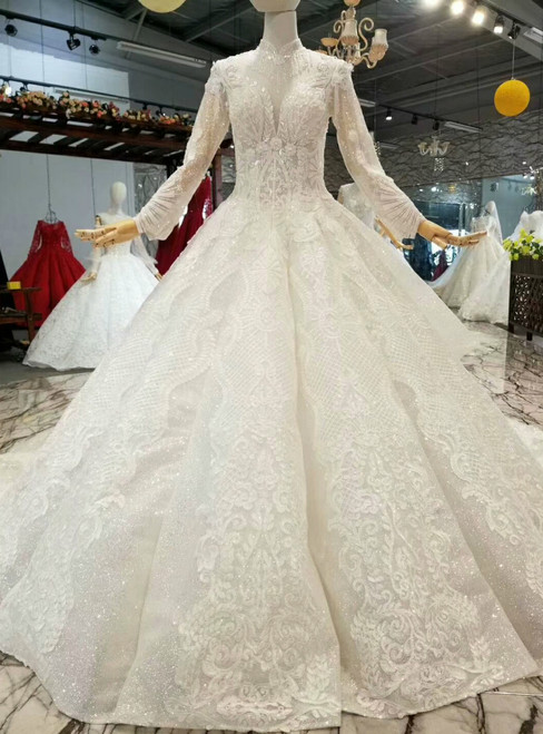 White Ball Gown Sequins Lace Appliques High Neck Long Sleeve Wedding Dress