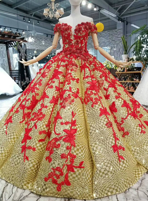 Gold Ball Gown Sequins And Red Appliques Off The Shoulder Wedding Dress