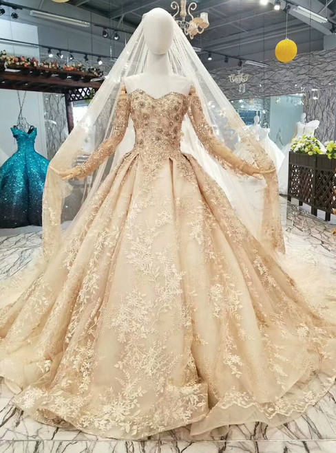 Champagne Tulle Lace Appliques Off The Shoulder Long Sleeve Wedding Dress