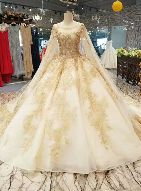 Champagne Ball Gown Tulle Lace Appliques Backless Wedding Dress With Beading