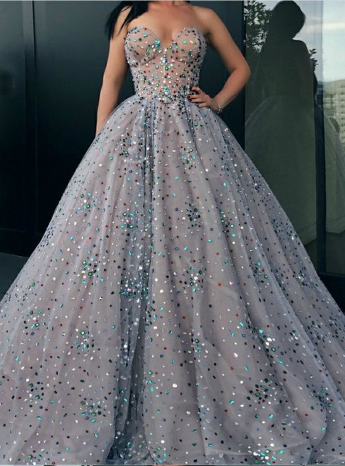 Ball Gown Sweetheart Tulle Rhinestone Long Sparkly Prom Dress