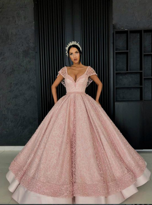 Ball Gown Pink Lace Sweetheart Floor Length Sweet 16 Dress With Pocket