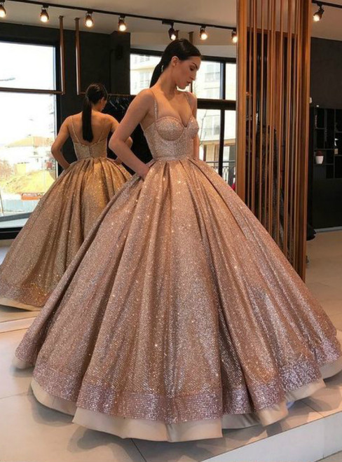 Champagne Spaghetti Straps Sweetheart Sequins Ball Gown Sweet 16 Dress With Pocket