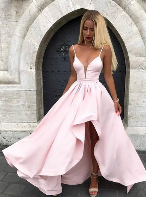 A-Line Light Pink Satin Ball Gown Spaghetti Strap Prom Dress