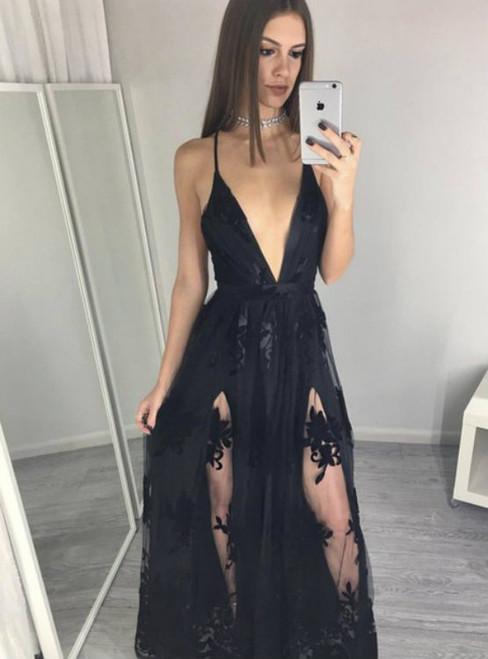 Cheap prom dresses 2017 Spaghettis-Straps Side-Slits A-line Black