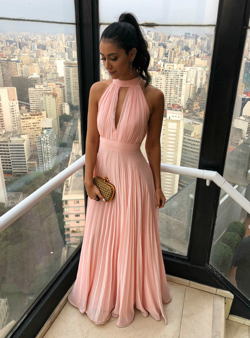 Simple A-Line Pink Halter Chiffon Floor Length Pleats Prom Dress