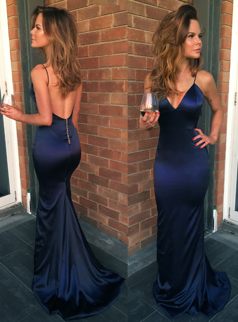 Sexy Mermaid Satin Navy Blue Spaghetti Straps Backless Prom Dress