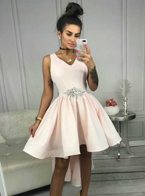 A-Line Pink Hi Lo Satin V-neck Short Prom Dress With Crystal