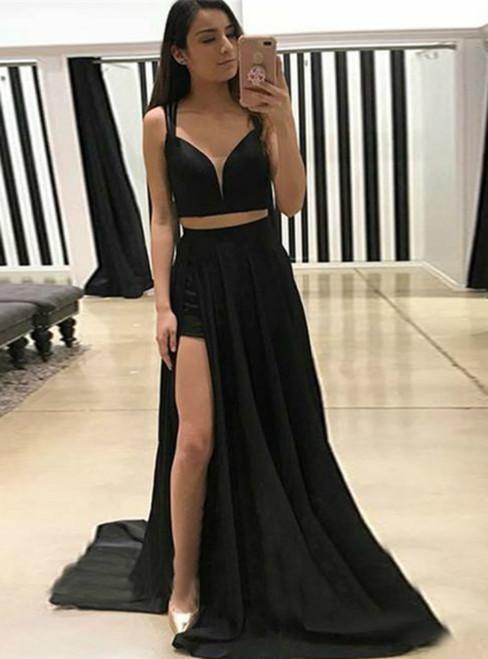 A-Line Two Piece Straps Sweep Train Black Prom Dress With Split