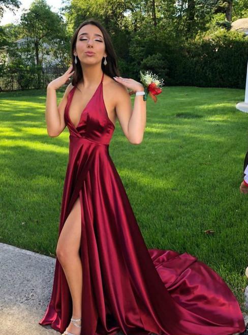 A-Line Burgundy Satin Halter Backless Prom Dress With Side Split