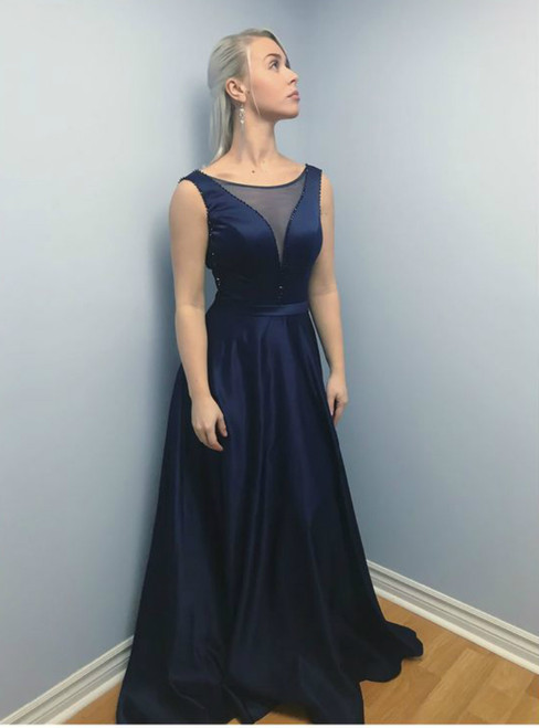 Long Beaded Navy Blue See Through Backless Semi Formal Prom Dress