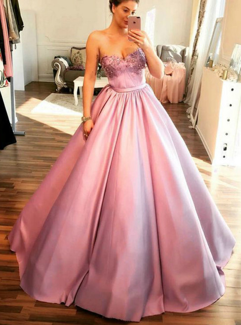 Unique Pink Ball Gown Sweetheart Ball Gown Party Dress With Beading