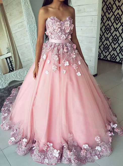 Pink Ball Gown Tulle Appliques Sweetheart Sweet 16 Quinceanera Dresses