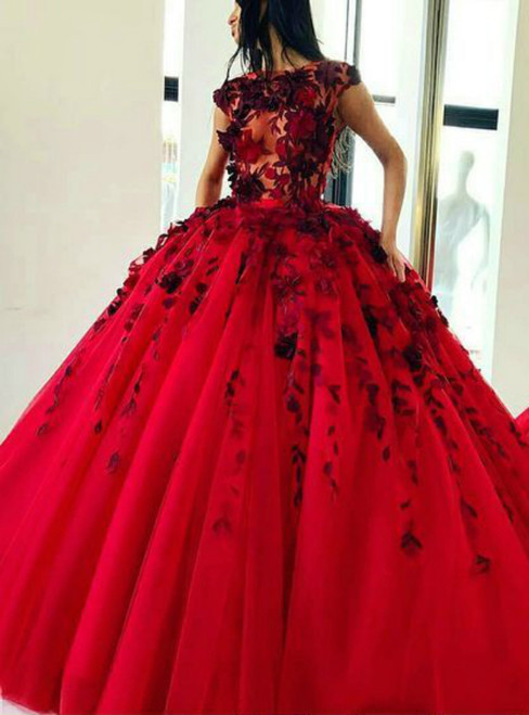 Ball Gown Red Tulle Cap Sleeve Prom Dress With Appliques Flower