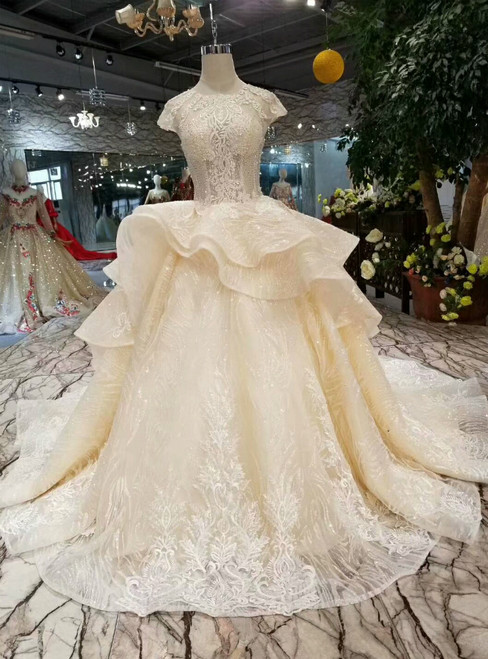 Champagne Ball Gown Tulle Sequins Cap Sleeve Appliques Wedding Dress With Beading