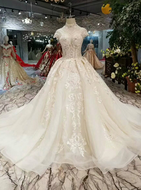 Light Champagne Tulle High Neck Cap Sleeve Backless Appliques Wedding Dress