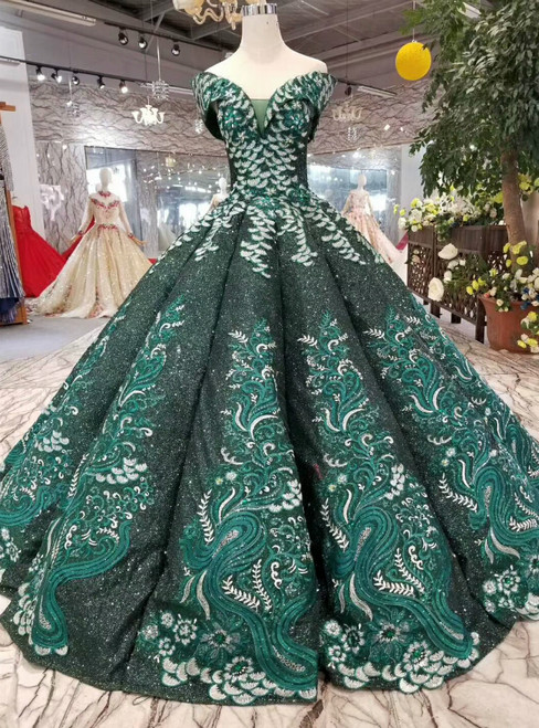 Dask Green Sequins Appliques Off The Shoulder Floor Length Wedding Dress
