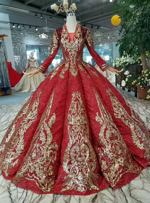 Red Ball Gown Sequins V-neck Long Sleeve Gold Sequins Appliques Wedding Dress