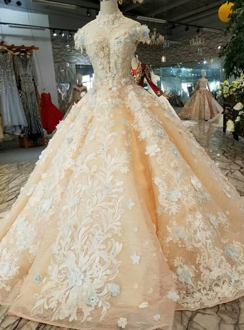 Champagne Ball Gown High Neck Backless Cap Sleeve Appliques Wedding Dress