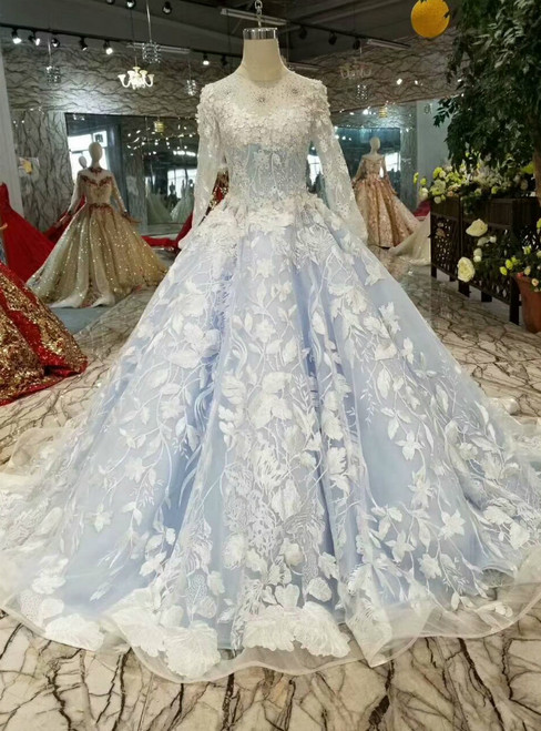 Blue Ball Gown Tulle Appliques Long Sleeve Wedding Dress With Beading