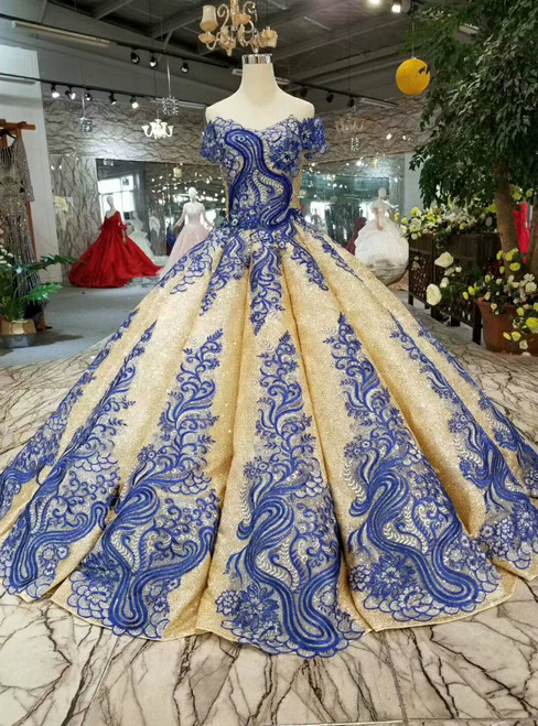 Gold Ball Gown Sequins Blue Appliques Off The Shoulder Wedding Dress
