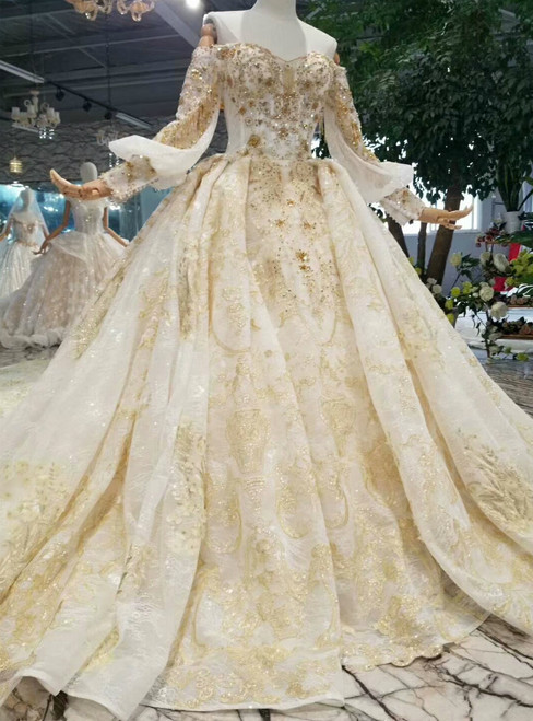 Champagne Ball Gown Lace Appliques Off The Shoulder Long Sleeve Wedding Dress
