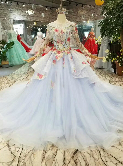 Blue Ball Gown Tulle Sequins Embroidery Appliques Long Sleeve Wedding Dress