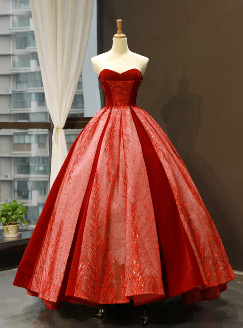 Red Ball Gown Sweetheart Lace Sequins Long Sweet 16 Prom Dress