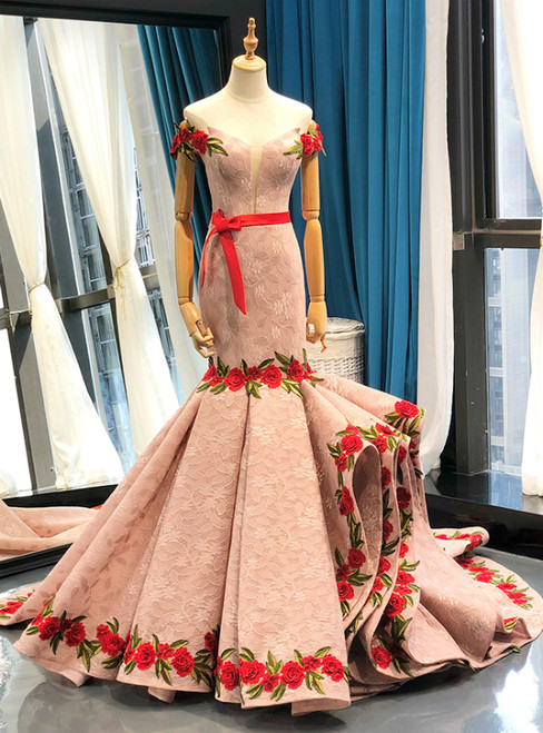 Pink Mermaid Lace Red Appliques Off The Shoulder Prom Dress With Sash