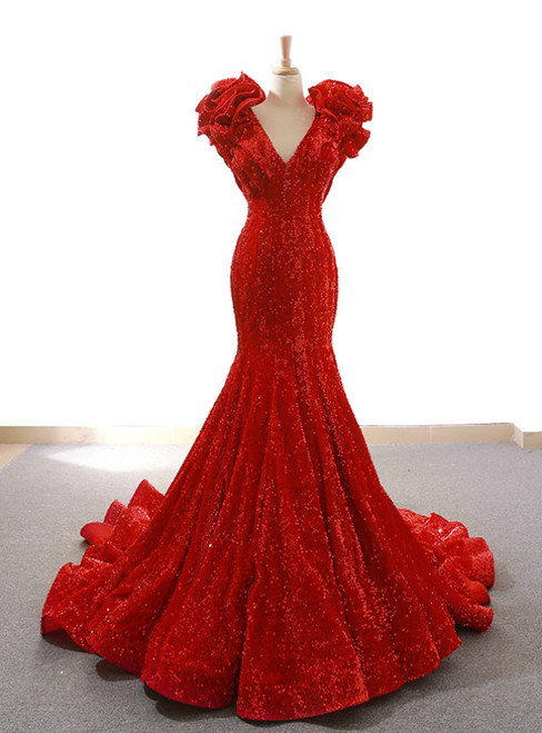 Red Mermaid Sequins Deep V-neck Prom Dress With Train
