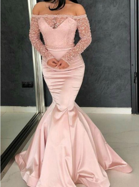 Pink Mermaid Satin Lace off tHe Shoulder Long Sleeve Prom Dress