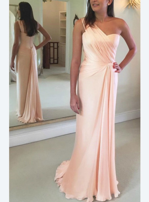 A-Line Pink Chiffon One Shoulder Pleats Floor Length Prom Dress